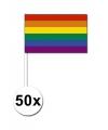 50 handvlaggen regenboog 12 x 24 cm